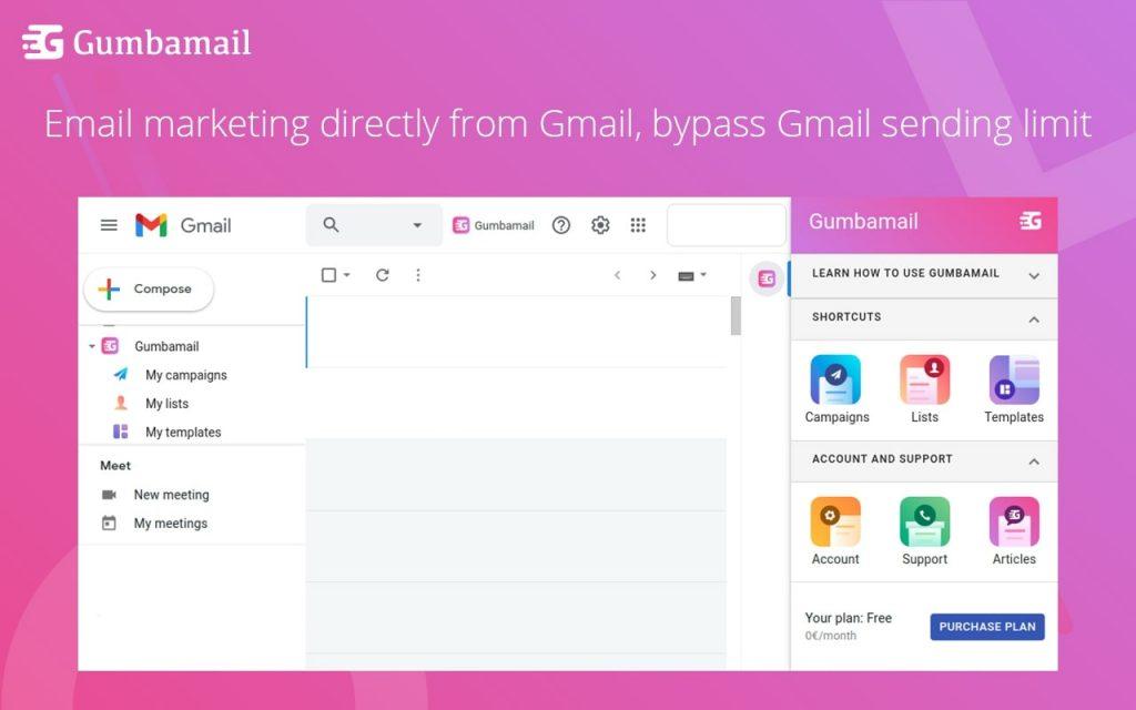 Gumbamail inside Gmail