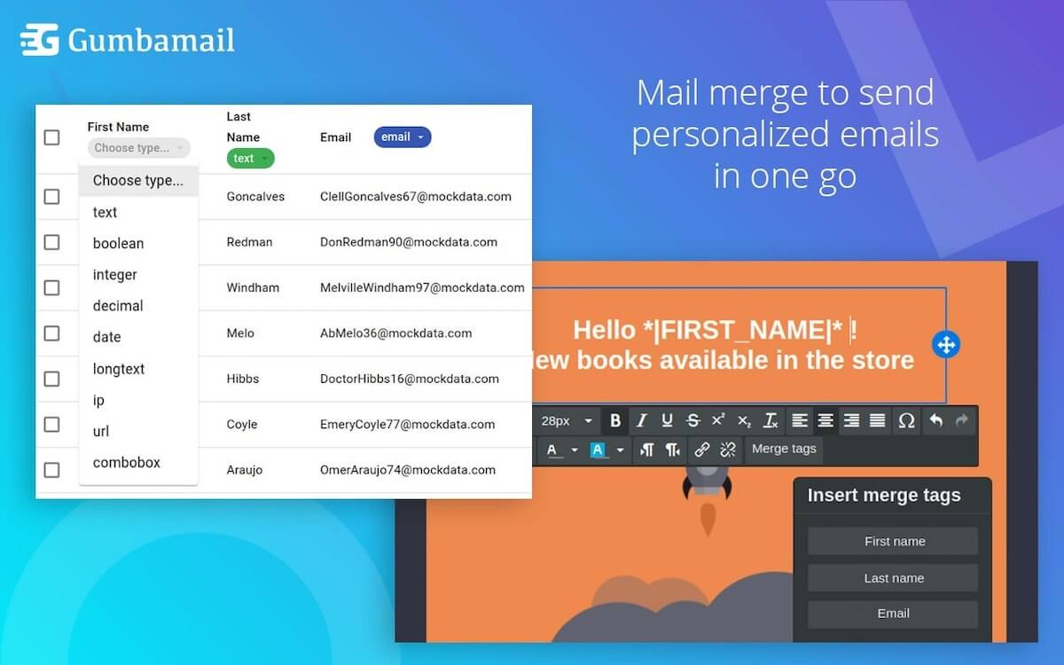Gumbamail mail merge