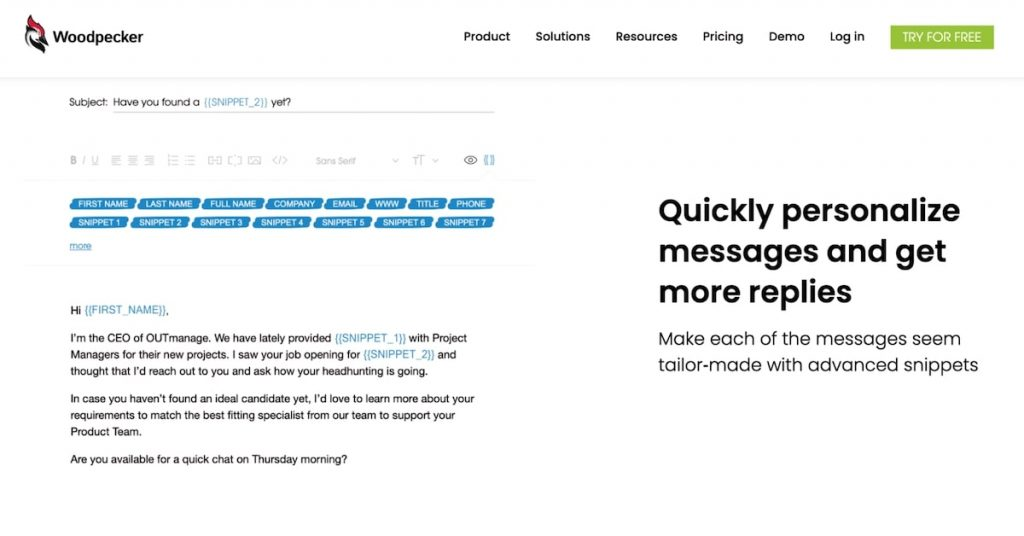Best mail merge for Gmail: Woodpecker